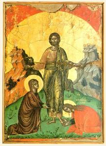 Spotkanie zkobietami, Monaster Stavronikita, XVI w.